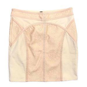 Free People Ivory Lace Mini Knit Skirt Medium